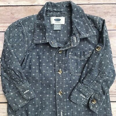 Old Navy baby Boy Chambray Button up Shirt Long Sleeve 12-18 months