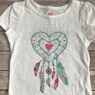cca720cbb9893 Epic Threads Girls White T-Shirt Top Hearts Glitter Teal Pink Cotton Sz 6