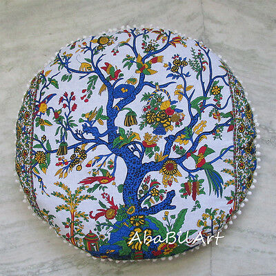 """28"""" Tree Of life Pillow Cover Round Cushion Pouf Covers Hippie Decorative Throw"""