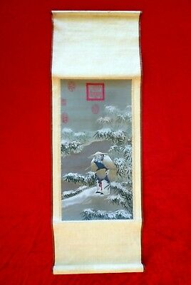 "Älteres Rollbild China Tapete ""Fishing On A Snowy Day"" textil Wandbehang Asia"
