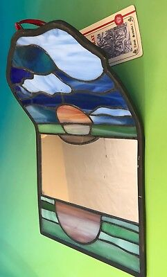 VINTAGE LEADED STAINED GLASS MIRROR WALL HANGING~HANDCRAFTED~Unique Sunset