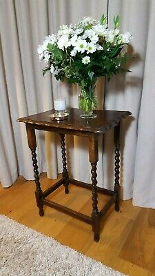 Vintage Antique Barley Twist Solid Oak Wood Occasional Lamp Hall Side Table