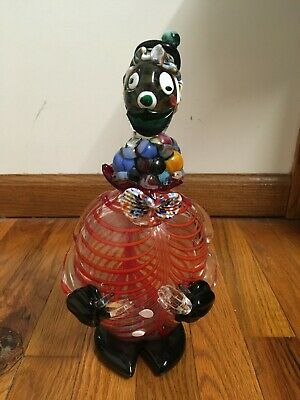 Murano Glass Clown Decanter - Vintage Italian Art 12""