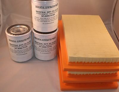 3 Pack of Oil and Air Filters For Generac 0J8478S and 070185E Value Set