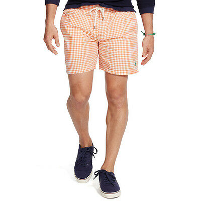 9e63f2da87 *Nwt* Polo Ralph Lauren Traveler Orange Gingham Mens Swim Shorts Trunks ~Xlarge