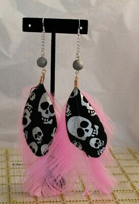 pink ostrich feather earrings 952 silver fishhook with a 10mm agate druzy bead
