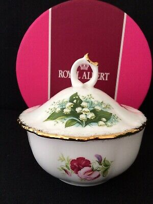 Royal Albert Flowers of the Month lidded Sugar Bowl or Powder Bowl with box. VGC