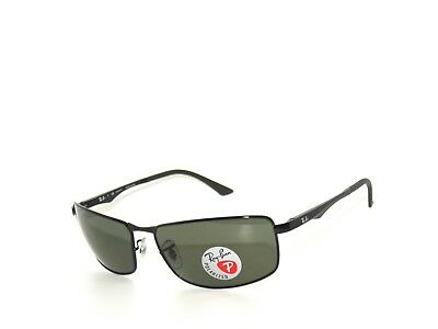 c57c6e4ad8 RAY-BAN RB3498 002 9A 64mm Black Frame Polar Green Lens Polarized ...