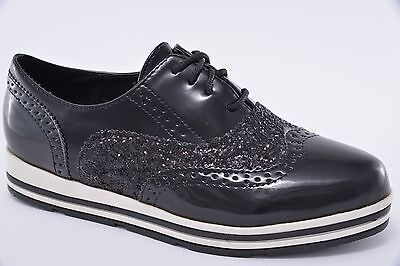 DAMEN SNEAKER WEDGES Dandy Look Brogues Glitzer Profilsohle