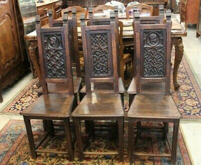 Set of 6 Antique French Oak Dining Room Gothic Chairs