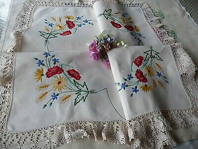 Vintage Hand Embroidered  Linen Tablecloth - Beautiful Poppies & Wheatsheafs