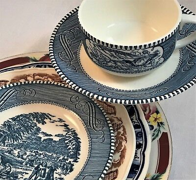 Staffordshire China, Delft, Currier & Ives  & Mismatch China 6-pc Set Farmhouse