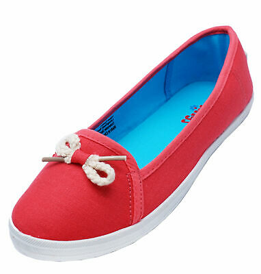 Ladies Coral Nautical Canvas Flat Slip-On Plimsoll Pumps Comfy Casual Shoes 3-7