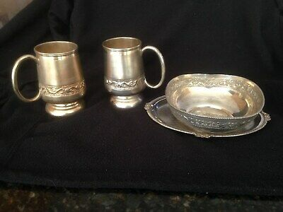 "Pair Of Indian 4"" Silver Tankards And Serving Bowl With Dish"