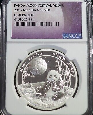 NGC 2016 Gem Proof China Moon Festival Chinese Silver Panda 1 OZ Coin