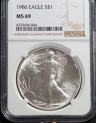 1986 NGC MS 69 American Silver Eagle One Dollar Coin | 3