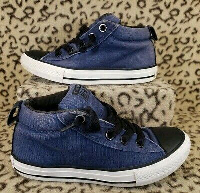 4791e83b4268 Converse All Star Toddler Kids Mid Shoes Size 1Y Blue Slip On Padded Canvas
