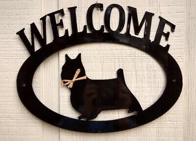 Silky Terrier Handcrafted Metal Welcome Sign black silhouette Made in the USA