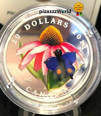 2013 Canada $20 Venetian Murano Glass Coneflower Butterfly 1oz Pure Silver Coin