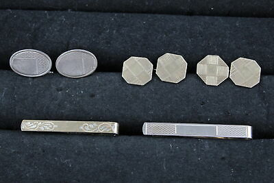 4 x Vintage .925 STERLING SILVER Cufflinks & Tie Clips inc. Gold on Silver (26g)