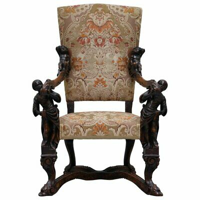 Valentino Panciera Besarel 19Th Century Italian Walnut Cherub Carved Armchair