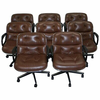 One Of Eight Original Knoll Pollock Vintage Brown Leather Executive Armchairs