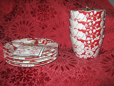 222 Fifth Megan Red Appetizer Plates And Dessert Bowls  - 4 Each - New