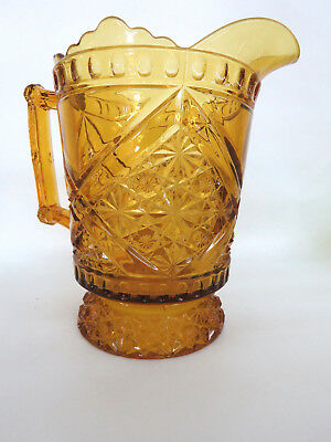 EAPG Richards and Hartley Daisy Button Crossbar Mikado Amber Glass Pitcher 243B