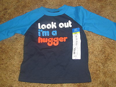 Boys Okie Dokie NWT long sleeved blue Look Out I'm A Hugger shirt size 9 months