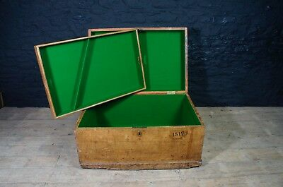 Antique Pine Chest / Trunk / Blanket Box with Green Felt Lined Interior ~Storage