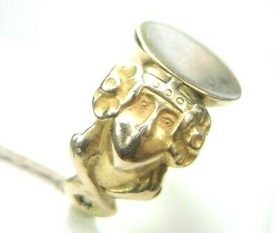 Antique Art Deco Vintage Victorian Unisex Signet 14K Yellow Gold Rg Sz 7 UK-N1/2