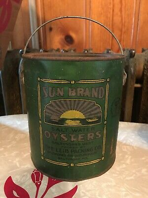 Vintage Sun Brand Big Oyster House Gallon Tin Can Baltimore MD 27 Bail Handle