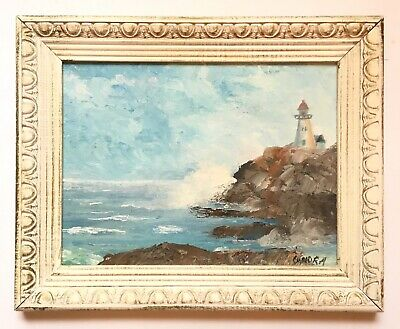 Vintage Seascape Oil Painting Peggy's Cove Lighthouse Nova Scotia 1977 SIGNED