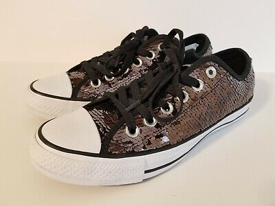 7eaaf33f0919 Converse All Star Gun Metal Black Sequin Low Top Sneakers Womens Size 8 New