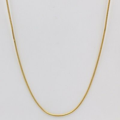 1mm High quality Unisex Real 18K Gold Plated Thin Snake Chain Necklace 18 inches