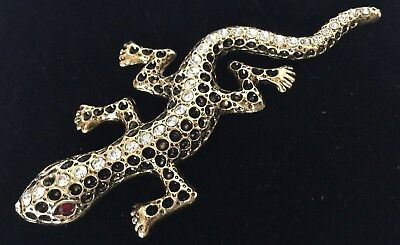 So Sweet! Lizard Pin 1960/'s Bit More than 1 12L Red Eyes Silver Tone Metal Covered with Aurora Borialis Glittery Stones