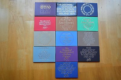 Royal mint proof coin sets 1970 to 1982