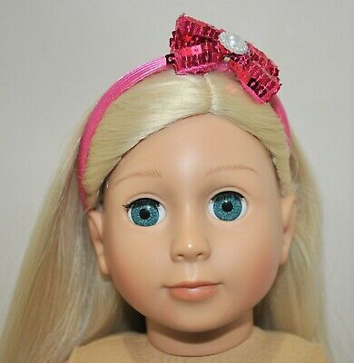 American Girl Doll Our Generation Journey 18 Dolls Clothes Hot Pink Bow Headband