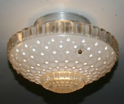 Antique frosted glass 1000 eye shade flush mount ceiling light fixture Art Deco