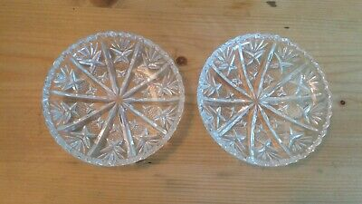 Pair of Vintage Pressed Glass Pin Dishes, Great Condition