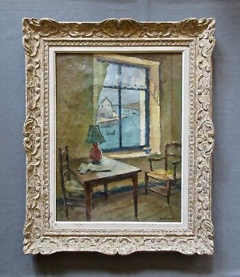 "Antique French Interior Genre ""The Window"" Oil Painting Signed Hèléne Branche"