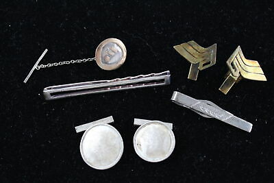 5 x Vintage .925 STERLING SILVER Cufflinks & Tie Clips inc. Gold On Silver (35g)