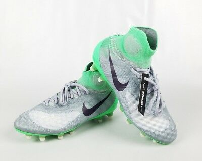 ffdc60018c7 NIKE Women s Magista Obra II FG 844205-053 Wolf Gray Green Dynasty Cleats  Size