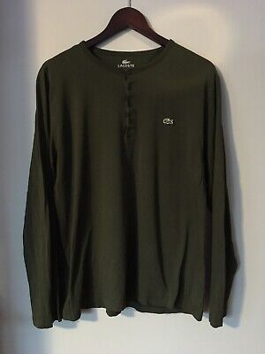58537980 Lacoste Long Sleeve Green Quarter 1/4 Button Shirt Olive Size 6 Crew Neck  Henley