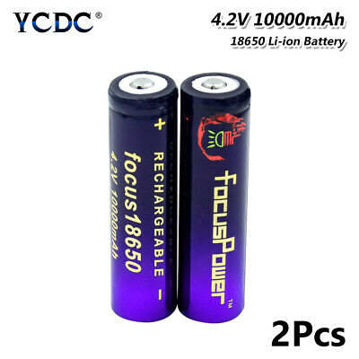 2Pcs 3.7V 10000mAh Li-ion 18650 Battery Rechargeable For Headlamp Flashlight 61