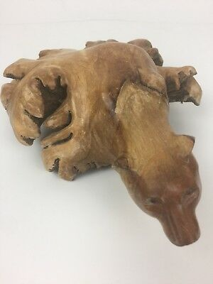 Unique Hand Carved Leaf Like Wood Piece Bear Head Collectible Unknown Artist