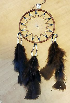"""Dream Catcher Wall Hanging Brown Blue 4"""" Diameter Beads and Feathers"""