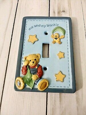"""Nursery Blue Jean Teddy Bear With duck Lightswitch Cover """"me and my blankie"""""""