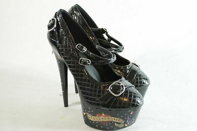 603617d4ac PENTHOUSE Shoes by Ellie SIZE 6 Stiletto LOVE HATE TATTOO Ph608-Vivien Black
