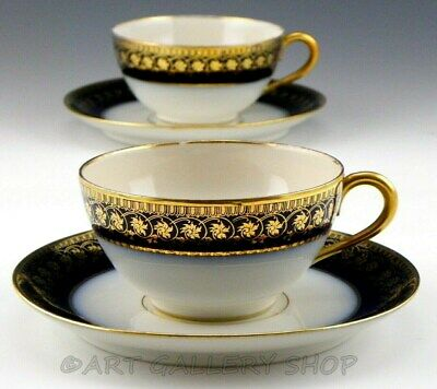 Antique William Guerin Limoges COBALT BLUE GOLD GILDED CUPS and SAUCERS Set of 2